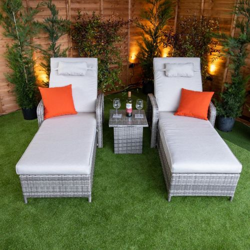 Champagne Venice Wheeled Sun Lounger With Arms Set of 2