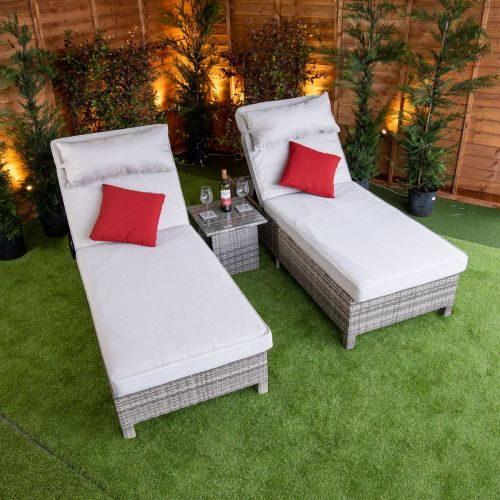 Champagne Deluxe Extra Wide Wheel Lounger Set of 2
