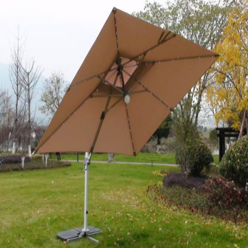 Deluxe 3m Square LED Cantilever Parasol in Cream