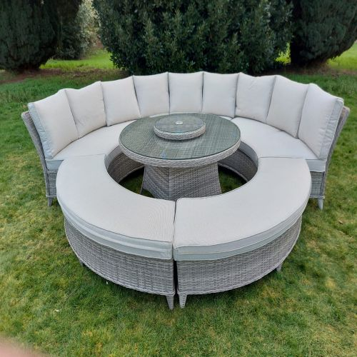 Champagne Marseille Half Round Sofa and Bench Dining Set with Lazy Susan