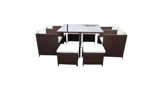 Flat Packed Brown 4 Seat Cube including 4 Footstools