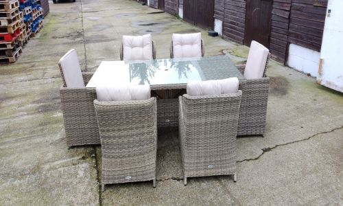 Crystal 6 Seat Rectangle Dining Set