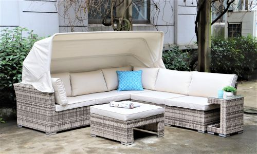 Champagne Sapphire Canopy Sofa Set with Footstool and Side Table