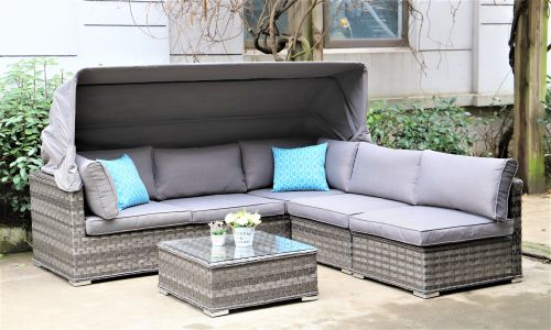 Serena Corsair Canopy Sofa Set with Coffee Table