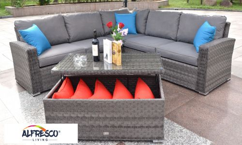 Serena Java Corner Sofa Set with Coffee Table in Grey Rattan
