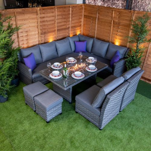 Serena Madison Corner Dining Set with Fire Pit