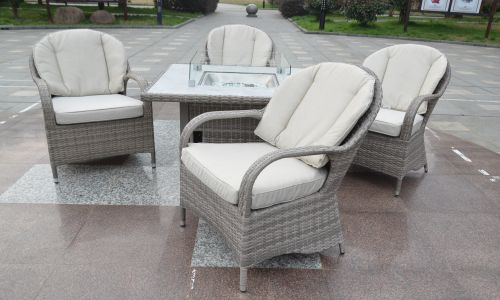 Champagne Regal 4 Seat Gas Fire Pit Dining Set
