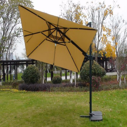 Deluxe Roma Strip LED 3m Square Cantilever Parasol in Cream Colour