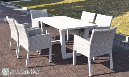 Pearl Ocean 6 Seat Dining Set in White Rattan
