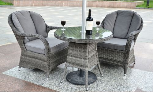 Serena Regal Round Bistro Set in Grey Rattan