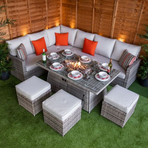 Champagne Hampton Corner Dining Set with Fire Pit