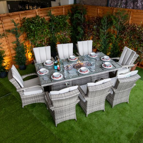 Champagne Tokyo 8 Seat Fire Pit With 210cm Rectangular Table