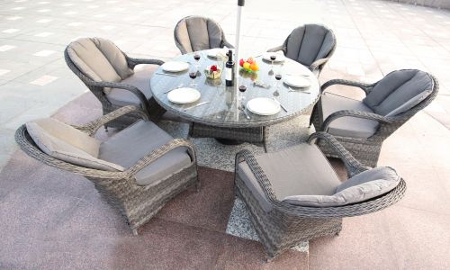 Serena Regal 6 Seat Round Dining Set in Grey Rattan