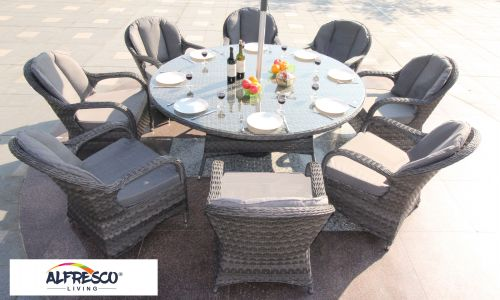 Serena Regal 8 Seat Round Dining Set in Grey Rattan