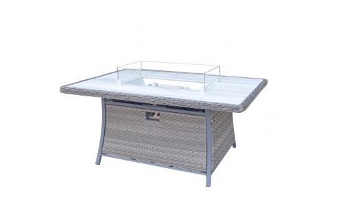 Serena 6 Seat Rectangular Gas Fire Pit Dining Table