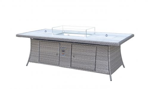 Serena 8 Seat Rectangular Gas Fire Pit and Ice Bucket Dining Table