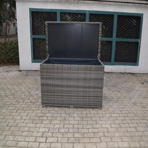 Serena Large Storage Box in Grey Rattan