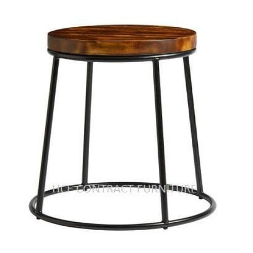 Spruce Low Stool -  Rustic Pine/Black
