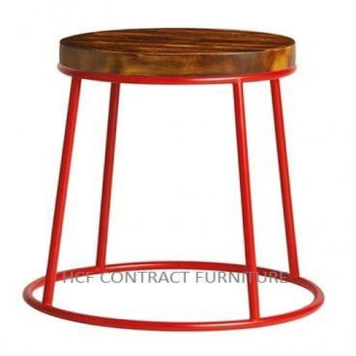 Spruce Low Stool - Rustic Pine/Red