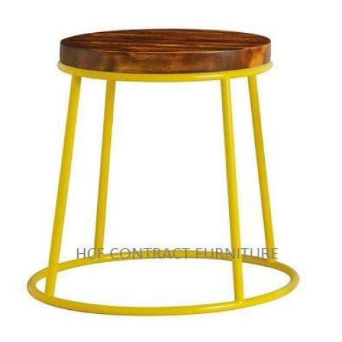 Spruce Low Stool - Rustic Pine/Yellow