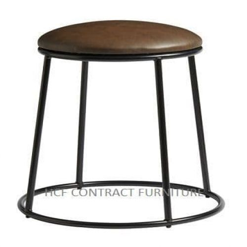 Spruce Low Stool - Upholstered Seat/Black