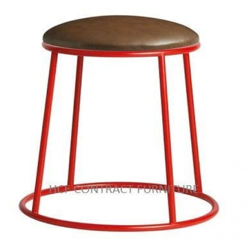 Spruce Low Stools - Upholstered Seat/Red