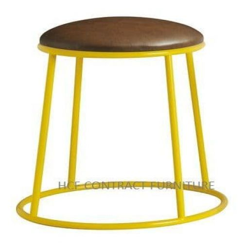 Spruce Low Stool - Upholstered Seat/Yellow