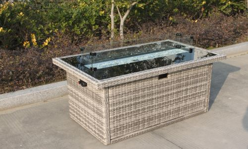 Champagne Claudius Rectangular Gas Fire Pit Coffee Table