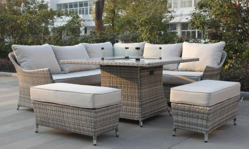 Champagne Coral Corner Dining Fire Pit Set with 2 Bench Stools