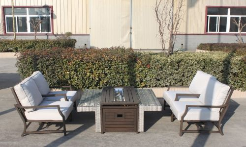 Champagne Maximus Fire Pit 4 Rocking Chair Set