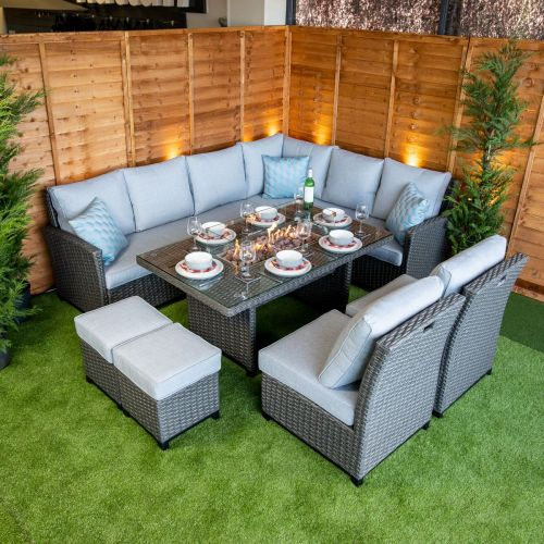 Platinum Madison Corner Dining Set With Fire Pit