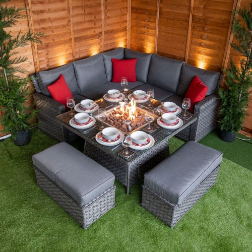 Serena Boston Corner Dining Set with Fire Pit
