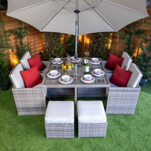 Rattan Garden Furniture Cube Sets, Grey Rattan Garden Furniture Cube Sets