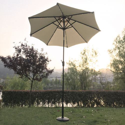 Boston LED 2.7m Round Crank Parasol in Cream
