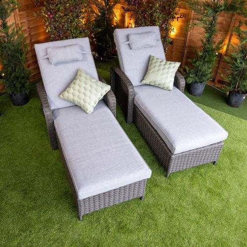 Platinum Venice Wheeled loungers With Arms set of 2