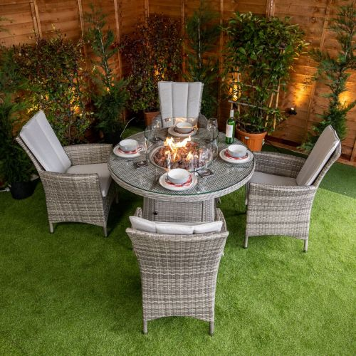 Rattan 4 Seat Fire Pit Dining Sets, Rattan Garden Furniture With Gas Fire Pit Table