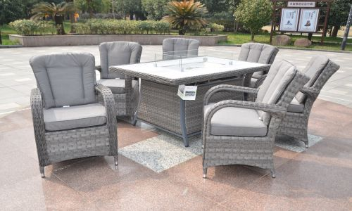 Serena Tokyo 6 Seat Gas Fire Pit Dining Set