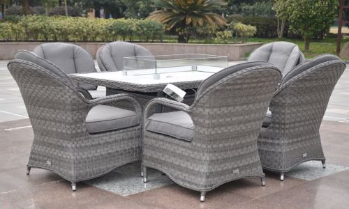 Serena Regal 6 Seat Gas Fire Pit Dining Set
