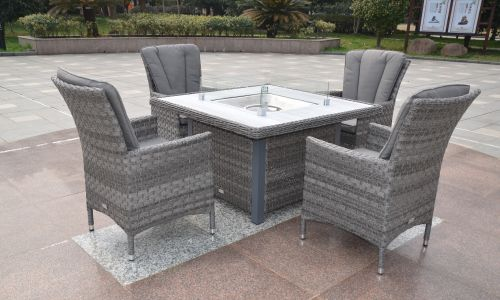 Serena Atlanta 4 Seat Gas Fire Pit Dining Set