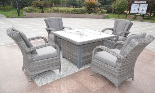 Serena Tokyo 4 Seat Gas Fire Pit Dining Set