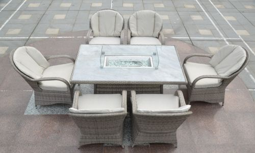 Champagne Regal 6 Seat Gas Fire Pit Dining Set