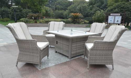 Champagne Royal 4 Seat Gas Fire Pit Dining Set