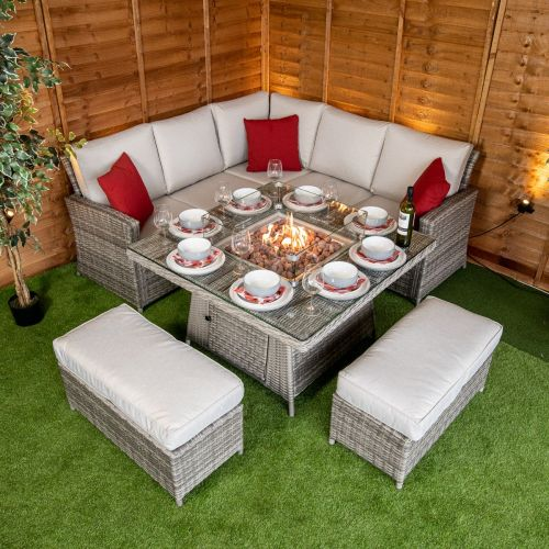 Champagne Boston Corner Dining Set with Fire Pit